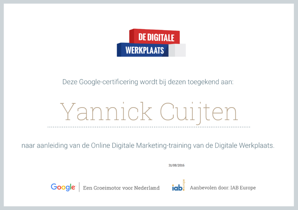 Certificaat Online Marketing Specialist
